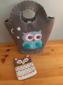 Handmade Children's Felt Owl Bag.