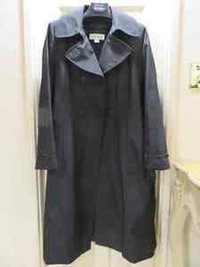 Calvin Klein Trench Coat with Removable Wool Liner - Black