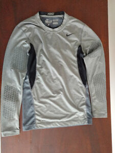 (2) FOOTBALL LS COMPRESSION SHIRTS NIKE UNDER ARMOUR YOUTH LG