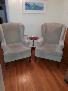 2 Pale Green Wing Back Chairs