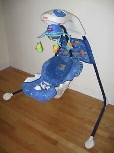 Balançoire bleue Fisher Price Aquarium musicale en bon état