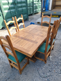 Handmade Mexican Pine table and 6 chairs