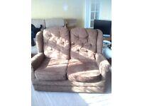 Free brown 2 seater sofa