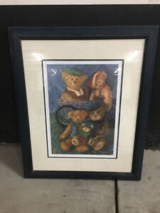 Bear Painting in matching picture frame
