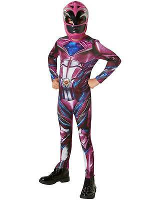 Pink Power Rangers Movie Fancy Dress Costume Childs Ranger Hero Character Girls (Power Rangers Girl Kostüme)