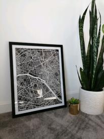 Paris Map Framed Print (54x44cm)
