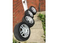5x100 vw montreal alloy wheels with good tyres