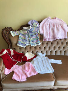 Hand knit sweaters - 0-2 yrs- girl.