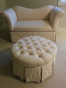 Love Seat Couch - Off White - *PP and Ottoman