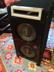 """Subwoofer Bassworkx with two 12"""" Infinity speakers"""