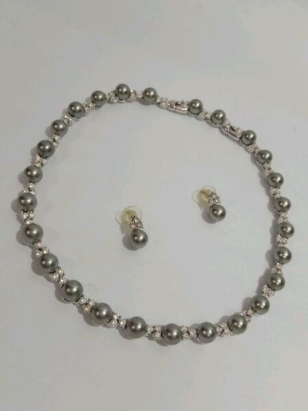 BNIB - Authentic KENJI Pearl Necklace with Crystals with matching Pierced Earrings
