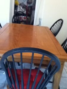 Dining table with 6 chairs and one bench