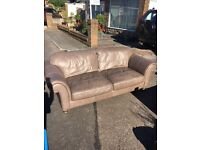 BHS Esme leather sofa and co-ordinating velvet chair