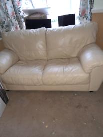 2 & 3 seater cream leather sofas