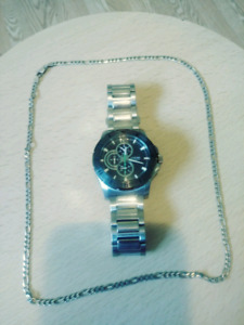 Guess Watch and Silver Chain
