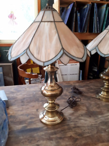 Brass lamps with Stained Glass Shades