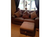2 seater settee, 1 arm chair and storage footstool