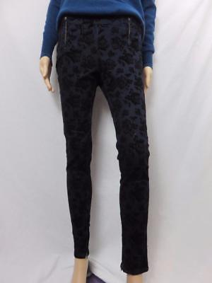 French Connection Black Burn-Out Velvet Skinny Jeans/Pants Size 2
