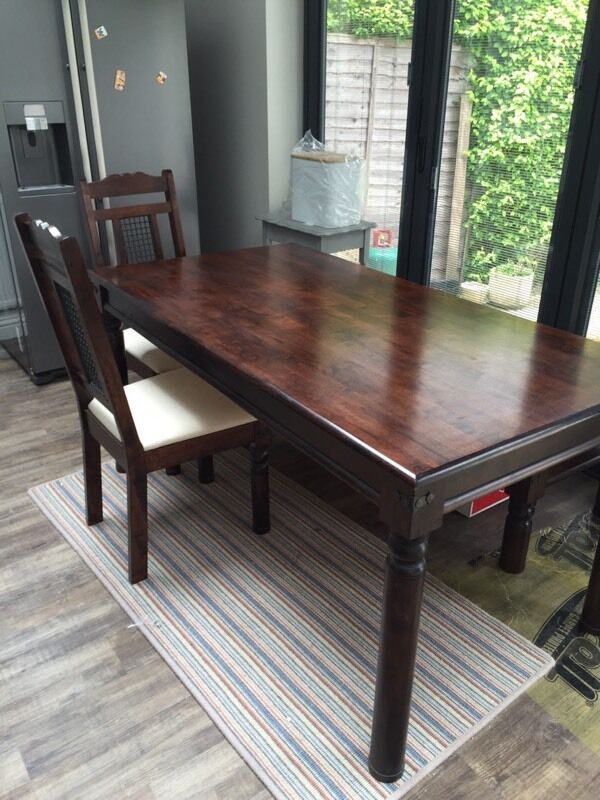 Homebase Marrakech 6 Seater Dark Solid Wood Dining Table And Matching Chairs