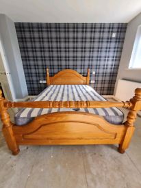 Solid pinewood double bed frame & orthopaedic mattress £140