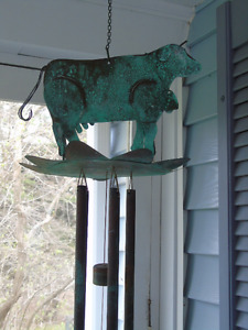 VINTAGE , COPPER, COW , WIND CHIMES