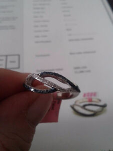 925 ss natural diamond blue and white ring size 7 NEW 75