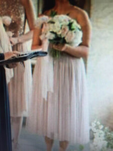 Lovely taupe neutral sparkle tulle brides maid dress wedding