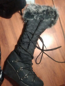 16 pairs of used boots heels and sandals