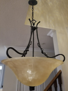 Bronze Brown 22-inch 3 light pendant marble glass ceiling light