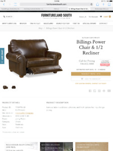 Cricklewood Custom Leather Electric Power Chair & 1/2 Recliner