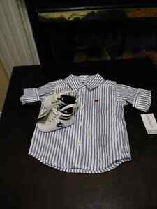 Bnwt dress shirt and shoes 3_6 months