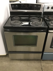 "30"" Black Whirlpool Electric Coil Top Stove"