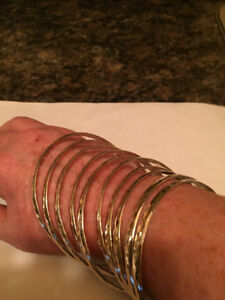 Silver Bangles - Stackable Set of 10