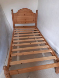 Single wooden bed frame and Silentnight mattress