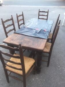 Gorgeous Natural blackened Oak Antique Harvest Table & chairs