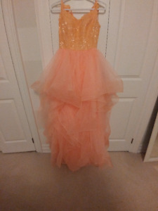 PROM Formal Coral Salmon Pink Custom Lace Gown with Tulle Skirts