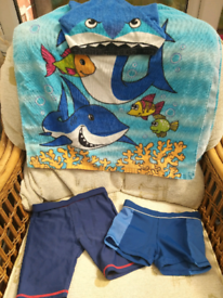 Boys swimming bundle shorts and shark towel
