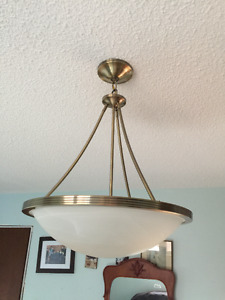 Ceiling Lite Fixture with 3 bulbs, AB, Alabaster Glass