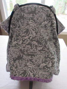 Carseat Canopy -  Gery/Lavender Belle