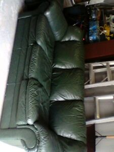 DARK GREEN GENUINE LEATHER COUCH AND LOVE SEAT