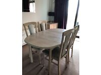 Dining table oval extending with 4 chairs light oak Quality furniture