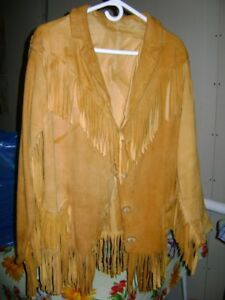 Deerskin Jacket with Bone Buttons and Fringe  Sussex