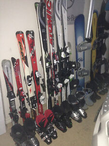 Downhill skis, boots, snowboard, kids and adult, mens and ladies