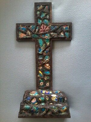 LARGE VINTAGE LONGWY ENAMELS PRIESTS ALTAR TABLE CHURCH CRUCIFIX
