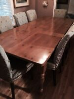Knotty Pine Dining Room Table for 8 People