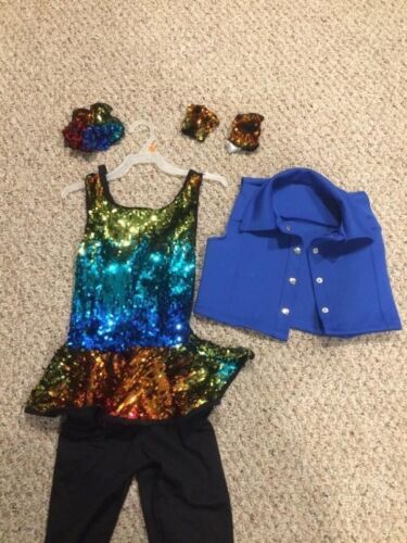 WEISSMAN DANCE COSTUME BLUE WITH SEQUINS SIZE L LARGE CHILD LC RN64830