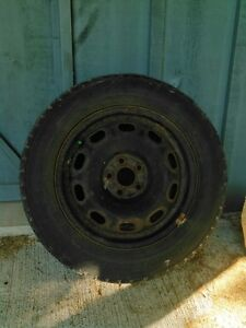 Snow Tires mounted on black rims - 195/65-R15 - Set of 4