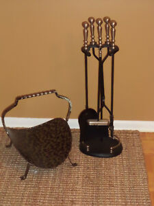 5 Piece Fireplace Tool Set with Log Holder