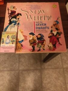 Snow White And The Seven Dwarfs Vinyl Record LP And Cassette Tap