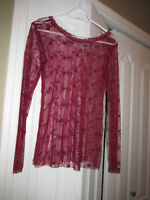 Womans SHEER FLORAL Top Small Medium 6-8